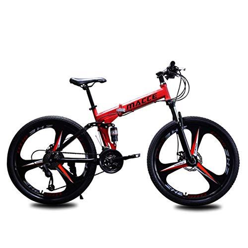 """WJSW Folding Mountain Bike Damen Herren Fahrräder 24\""""/ 26\"""" Zoll Stahlrahmen, 24-Gang Feuerwehr Schalthebel Tourney Schaltwerk, Rot, 26\"""""""