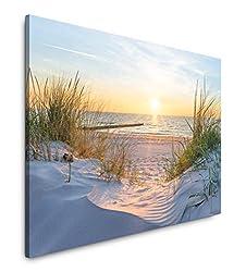 Paul Sinus Art Sonnenuntergang an der Ostsee 100 x 70 cm Inspirierende Fotokunst in Museums-Qualität für Ihr Zuhause als Wandbild auf Leinwand in