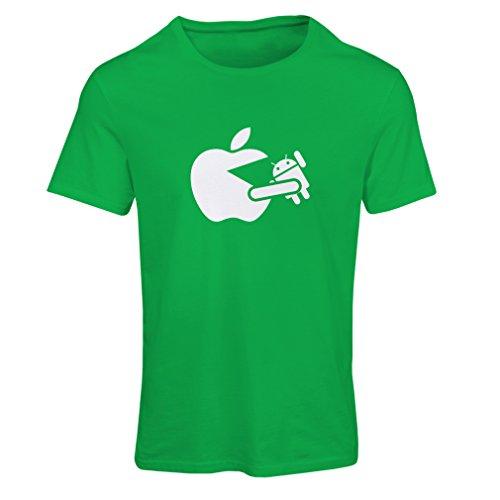 Frauen T-Shirt Lustiger Apfel isst einen Roboter - Geschenk für Tech-Fans (Medium Grün Weiß)