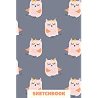 Sketchbook: Small Portable Blank Sketchbook for Drawing, Sketching, and Doodling with Owl Illustration Pattern in Blue