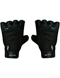 Sports 101 X-Treme Leather Fitness Gloves, Free Size (Black)