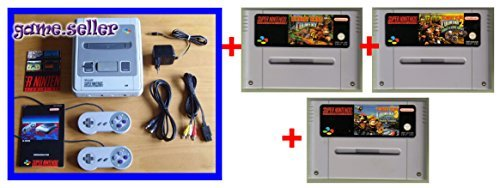 Set: SNES Konsole Super Nintendo Entertainment System Konsole Console (inkl. ALLES nötige Zubehör) UND MIT ALLEN 3 Donkey Kong Country Spielen (Teil 1 + 2 + 3) (Super Nintendo Spiele Klassiker Set) -