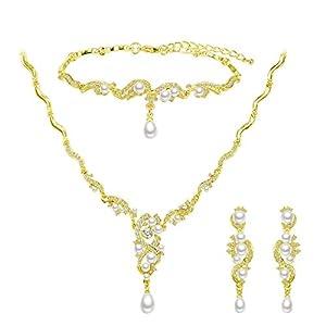 BiBeary Damen Zirkonia CZ künstliche Perle Braut Party elegant Schmuckset Set Halskette Ohrringe Armband Armkette