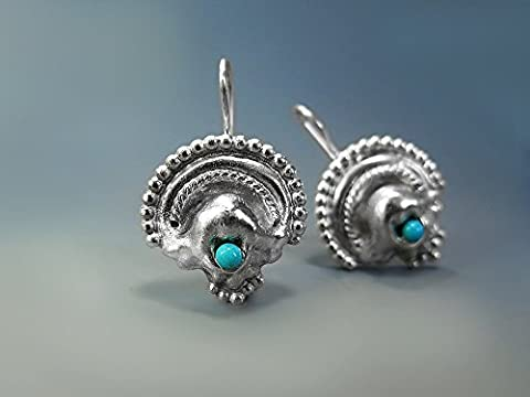 Ethnic Turquoise Sterling Silver Drop Earrings Large Bohemian Native American Southwestern Style Natural Genuine Blue-Green Gemstone Handmade Jewelry For Women Unique Gift December Birthstone