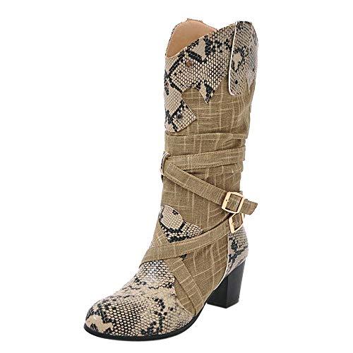 MYMYG Damen Hohe Stiefel Langschaft Mode Frau Stiefel Snake High Heels Mid Stiefel Spitz Winter Schuhe Strümpfe Chelsea Boots Schlüpfen Stiefeletten Boots