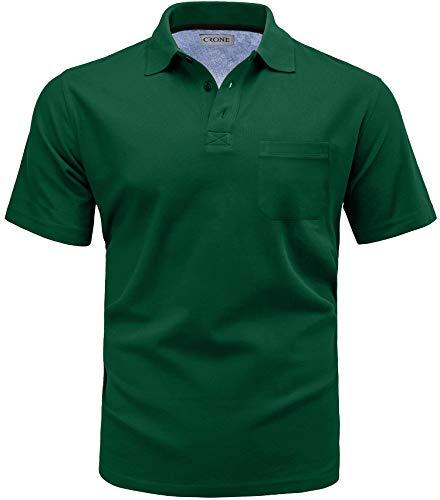 Crone Menzino Basic Kurzarm Herren Pique Poloshirt Regular Fit mit Brusttasche (3XL, Grün)