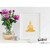 Gold Buddha stampa/oro statua di Buddha stampa/lamina d' oro Buddha stampa/Gold Buddha Art/Gold buddista stampa/Golden Buddha/portafortuna poster, 8 x 10