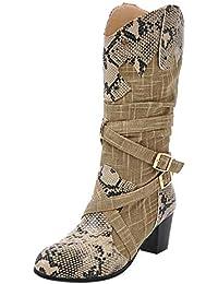 Damen Farbabstimmung Schlangenhaut Textur Stiefel dick mit hohen Stiefeln YunYoud Schneestiefel Damenschuhe Stiefelletten Freizeitstiefel stiefelmode
