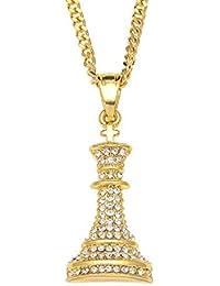 MCSAYS Hip moda colgante collar de regalos de ajedrez de cristal de Bling Bling Hip chapado en oro de la cadena cubana