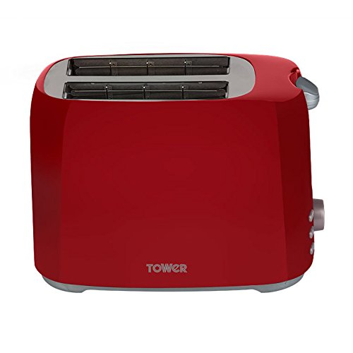 BREVILLE Curve Cube Jug Kettle and 4 Slice Matching Toaster Set Red Chrome