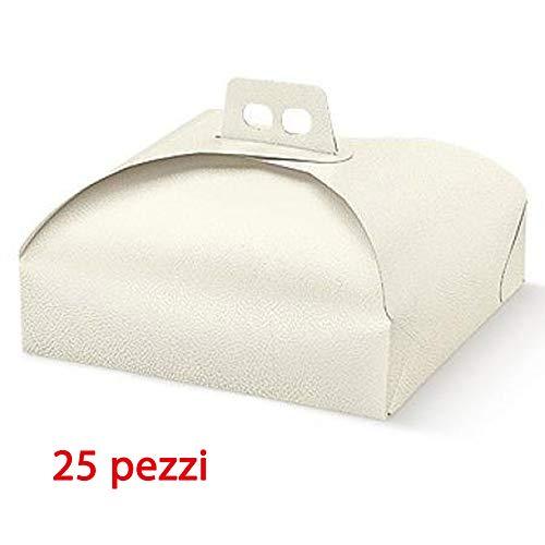 Caja de cartón para transporte apto para tartas,, pastillage, pastas, pastine y bandejas rectangulares y cuadrados. Formato 25x 25cm color blanco ideal para transportar dulces tartas etc. caja de cartón para alimentos