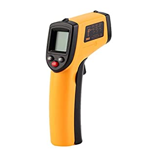 Trimming Shop Infrared Thermometer Gun with Non-Contact Digital Laser, LCD Display, LED Backlight Temperature and Low Battery Indication for Children Adults, Yellow