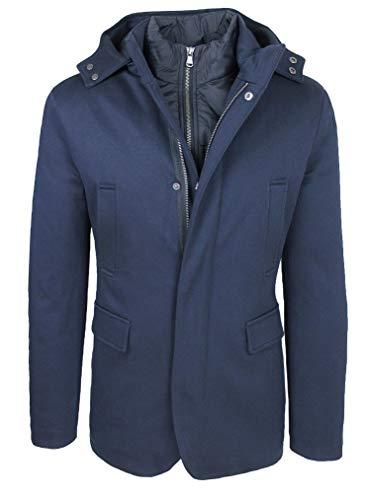 Elegante giaccone uomo sartoriale slim fit giubbotto con gilet interno (m, blu)