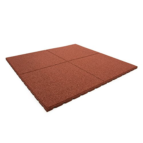 Technikplaza Terrassenplatten - 4 Stück in Rot - Terrassenfliesen - Terassenplatten - Balkonfliesen - Gartenplatten - Platten für Terrasse - Terrassenplatten Gummi - Gummi Terrassenplatten