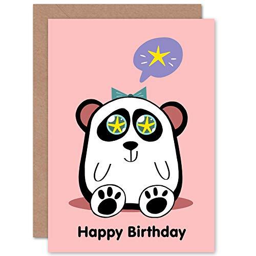 Wee Blue Coo LTD Kawaii Panda Star Happy Birthday Greeting Card with Envelope Blank Inside Premium Quality