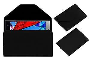 Acm Premium Pouch Case For Lyf Wind 4 Flip Flap Cover Black