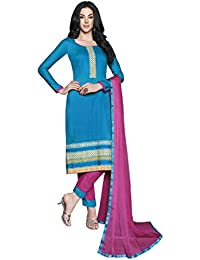 LAVIS Women's Cotton Dress Material (Ranisak103_Free Size_Blue)