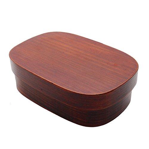 Ecloud Shop Hölzerne Bento Box Lunch Box mit Innenabscheider Holz Lebensmittelbehälter
