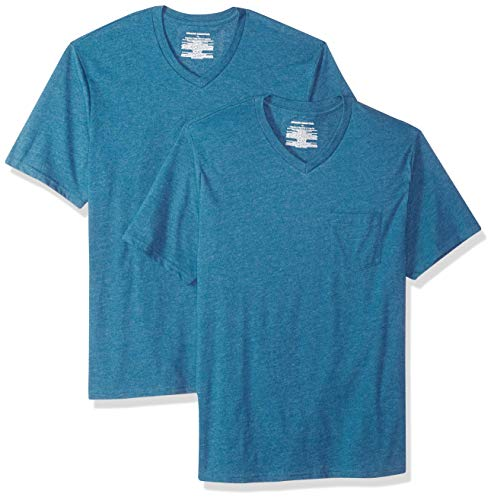 Amazon Essentials 2-Pack Regular-fit V-Neck Pocket T-Shirt (Blue Blu)