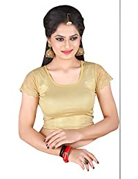 27bd8a70c00 CDPL Express Stretchable U Neck Shimmer Ready made Golden Blouse For Women
