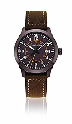 Philip Stein Men's Analog Japanese-Quartz Watch with Leather Strap 700BR-PLTBR-CAWVBR