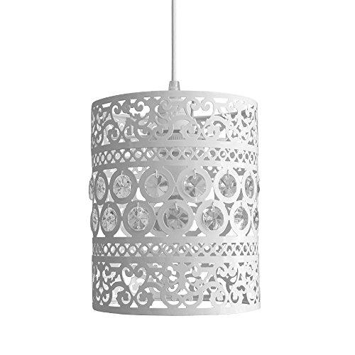 MiniSun - Moderner und verzierter Lampenschirm aus cremefarbigem Metall geschmückt mit transparenten Acrylkristallen im Shabby Chic Stil - für Hänge- und Pendelleuchte -