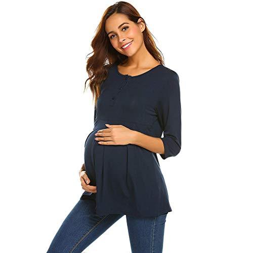 FRAUIT Maglia PréMeman per LAllattamento T Shirt Premaman Abbigliamento Estivo Donna maternità Infermieristica Allattamento Top Doppio Strato