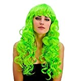 Ladies Bright Coloured Foxy Wig Curly Long with Fringe (Neon Green)