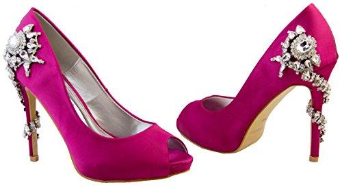 Donna Sabatine Satin Diamante tacchi alti 11.5cm Scarpe da sposa Fucsia Scura