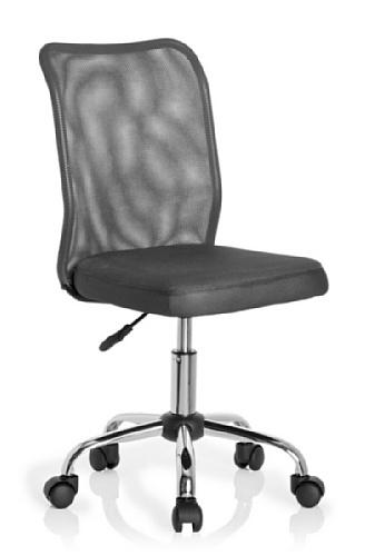 HJH Office 685973 chaise de bureau enfant, chaise junior KIDDY NET gris sans accoudoirs, dossier en tissu maille respirant, piètement stable en acier chromé, assise en tissu, réglable en hauteur