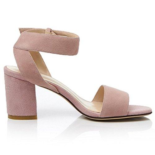 COOLCEPT Damen Mode Knochelriemchen Sandalen Open Toe Blockabsatz Schuhe Rosa