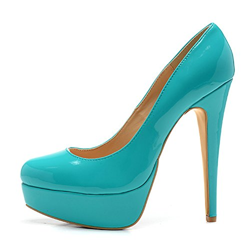 Damen Pumps Lackleder High-Heels Stiletto mit Plateau Rutsch Blau