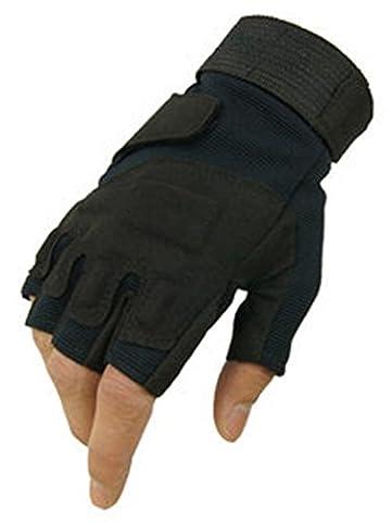 Fingerless Gants de Vélo Demi-Doigt pour Hommes Gants de Sports de Plein Air -Noir,M