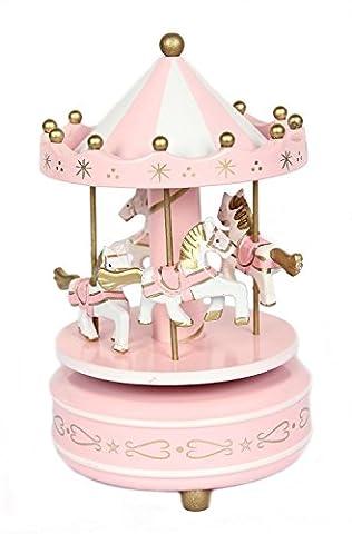 ParaCity Holz Karussell Musik Box Kinder Mädchen Weihnachten Geburtstag Hochzeit Geschenk Spielzeug Rosa/Weiß