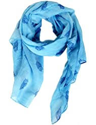 Calonice Amorino Femme Foulard bleu turquoise à imprimé hibou 100% Polyester 100x180 cm (LxH) 20000