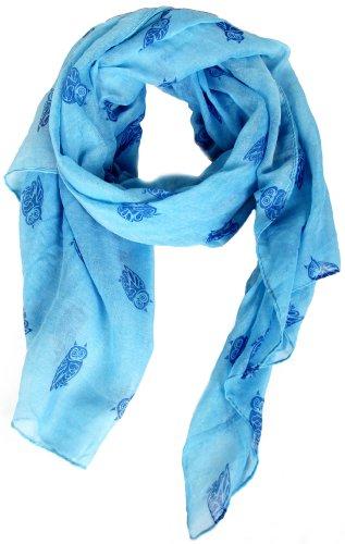 Damen Kleidungsstück für jede Jahreszeit Casual Party Büro Modisch Stylish Schal Blau Türkis mit Eulen-Aufdruck, 100% Polyester, 100x180 cm (LxB) 2000
