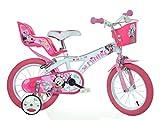 Minnie Maus Kinderfahrrad Mädchenfahrrad - 14 Zoll | Original Disney Lizenz | Kinderrad mit Stützrädern, Puppensitz und Fahrradkorb - Das Minnie Maus Fahrrad als Geschenk für Mädchen