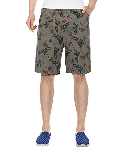 Baymate Printing Beach Short Casual Sports Boardshorts pour Homme Sombre Vert