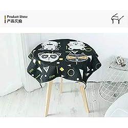 Creek Ywh Americano Friki de Dibujos Animados Gato Tendencia Mesa de café Mantel Tela Cocina Mantel algodón Mantel Engrosamiento, culpar Gato Socio - Negro (Cuadrado), 140 * 200