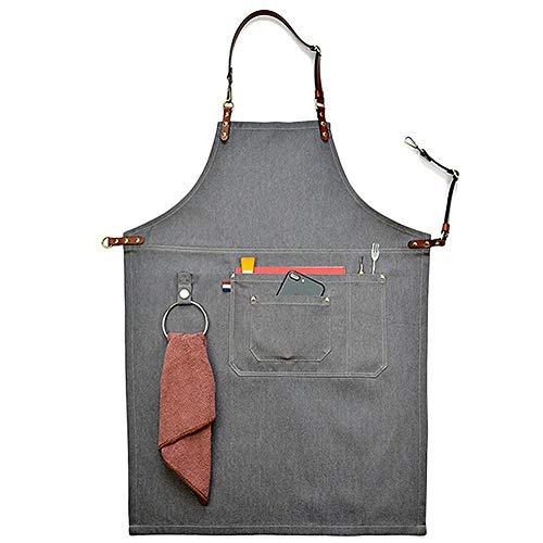 cleanpower Unisex Grey Manual Denim Latzschürzen Lederband Chef Kitchen BBQ Tool Taschenschürze (n) -