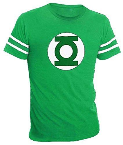 Green Lantern Logo With Striped Sleeves grün Erwachsene T-Shirt (Small) (T-shirt Grün-erwachsenen Tee)