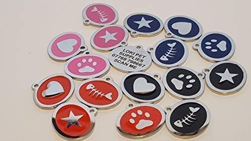 LOKI - Etiqueta de identificación para gato (acero inoxidable, grabada con láser), diseño de estrella