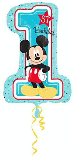 amscan 3434301 Folienballon Micky 1st Birthday, Mehrfarbig (Mickey Maus Kostüm Für Geburtstagsparty)