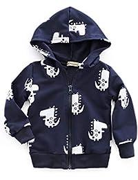 Usstore Baby Boys Girls Cartoon Dinosaur Hooded Zipper Tops Clothes Coat Navy/Gray