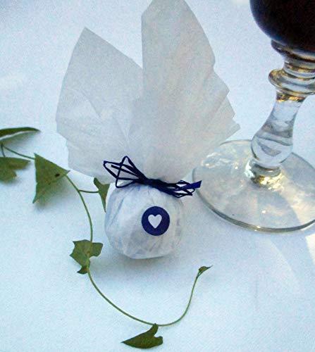 Die Seedball-Manufaktur blaubeer Seedball Gastgeschenk mit Herz Weißes Seidenpapier mit Blauer Bastschleife 2,5 x 2,5 x 6 cm (Bezahlung Für Artikel In Den Warenkorb)