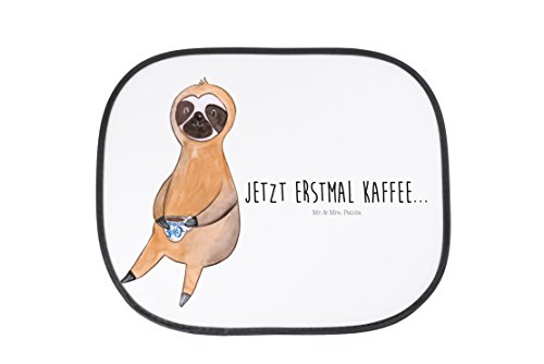Mr. & Mrs. Panda Auto Sonnenschutz Faultier Kaffee - 100% handmade in Norddeutschland - Faultier, Faultiere, faul, Lieblingstier, Kaffee, erster Kaffee, Morgenmuffel, Frühaufsteher, Kaffeetasse, Genießer Sonnenschutz, Auto, Sonnenblende, Fenster, PKW, Kinder, Familie, Geschenk, Rücksitz