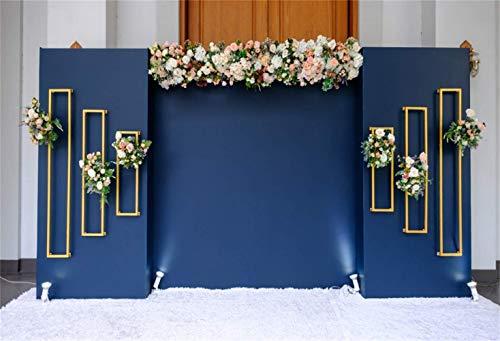 vrupi Indoor Floral Wedding Photo Booth Backdrop 10x6.5ft Vinyl Blue Panel Screen Flowers Decoration Golden Striped Frames White Carpet Background Wedding Celebration Bridal Shower Bride Groom Shoot Flat-panel-card