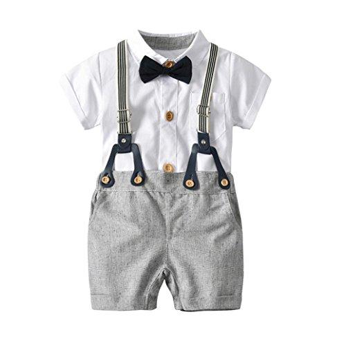 XXYsm Baby Taufe Hochzeit, Baby Jungen Gentleman Outfits Anzüge, Kleinkind Kurzarm Shirt + Trägerhose + Fliege Overalls Kleidung Set (Weiß, 18-24Monate/90) (Kleinkinder Jungen Für Anzüge)