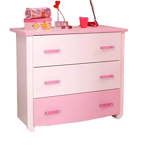 Kommode weiß rosa Mädchen Kinderzimmer Jugendzimmer Anrichte Schrank Schubladenkommode Aufbewahrung Sideboard