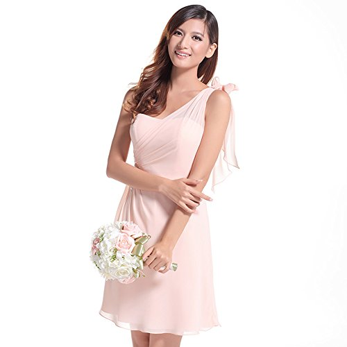 Lemandy robe demoiselle d'honneur courte mousseline Rose